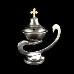 Obiecte bisericesti | Catuie metalic argintiu aluminiu 14cm | 5200