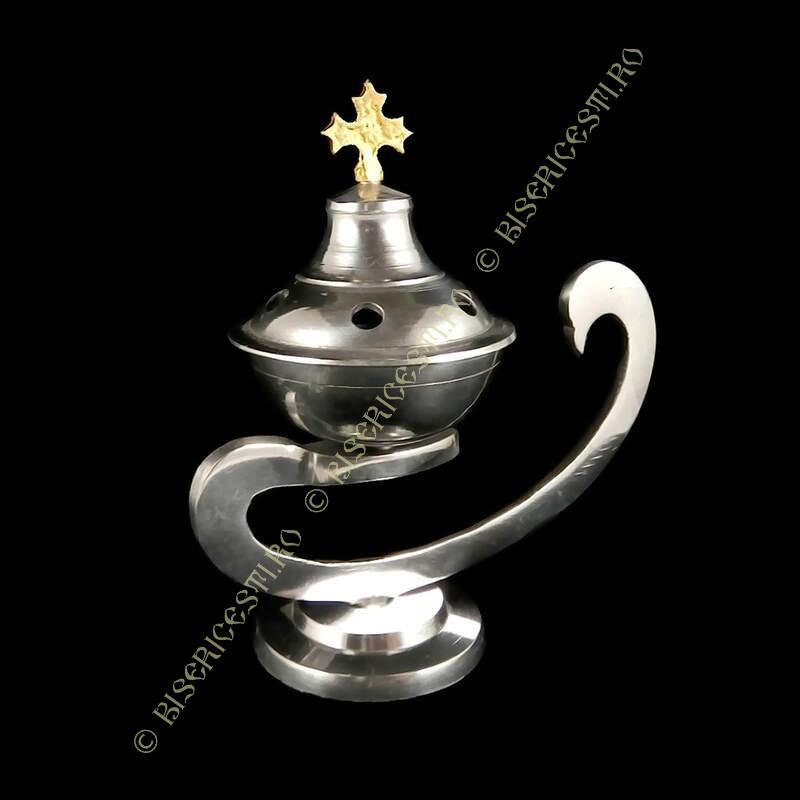 Obiecte bisericesti   Catuie metalic argintiu aluminiu 14cm   5200