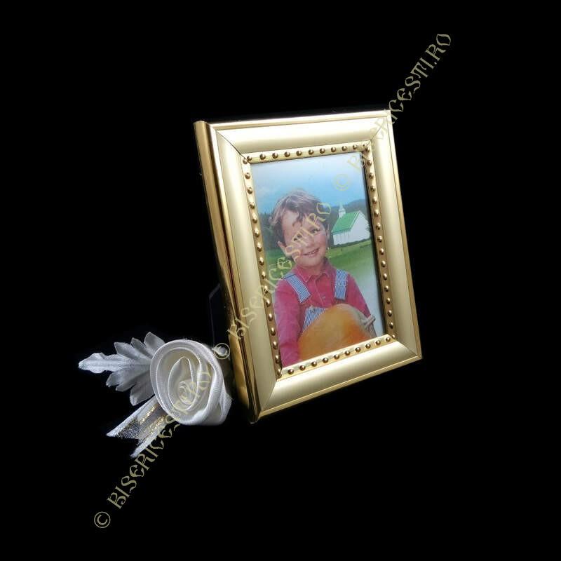 Obiecte bisericesti   Rama foto din plastic auriu   3504