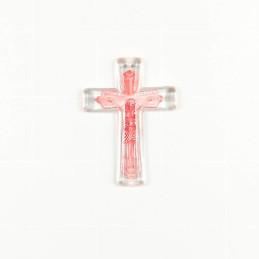Obiecte bisericesti | Medalion cruce de plastic transparent 53mm | 2000