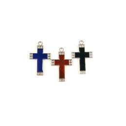 Obiecte bisericesti | Medalion cruce metalica argintie 30mm | 2002