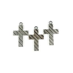 Obiecte bisericesti   Medalion cruce metalica argintie 30mm   2002