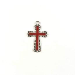 Obiecte bisericesti | Medalion cruce metalica argintie 30mm | 2003