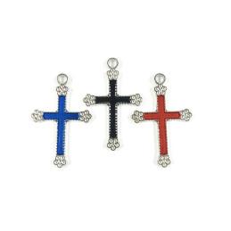 Obiecte bisericesti | Medalion cruce metalica argintie 30mm | 2004