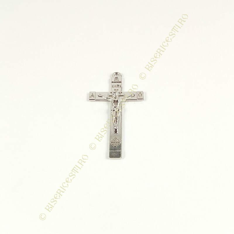 Obiecte bisericesti | Medalion cruce metalica argintie 40mm | 2012