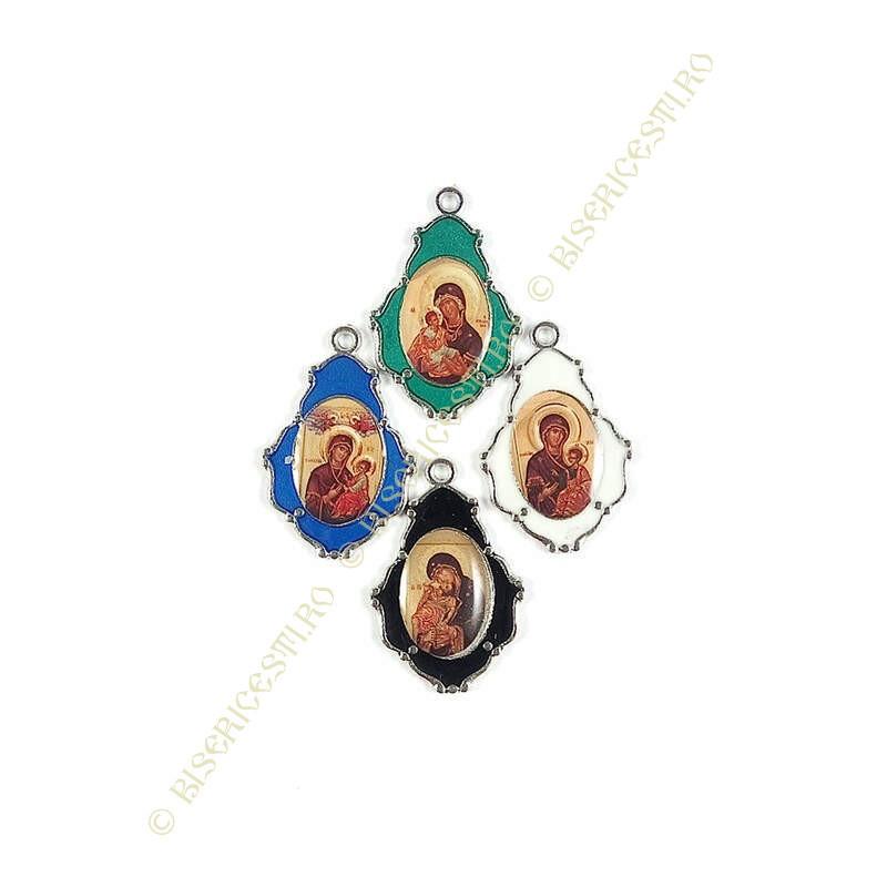 Obiecte bisericesti | Medalion icoana metalic argintiu 27mm | 2019