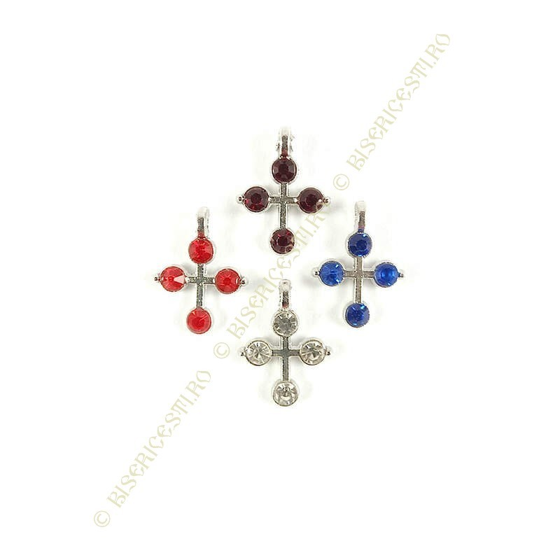 Obiecte bisericesti | Medalion cruce metalica argintie 14mm | 2023
