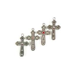 Obiecte bisericesti | Medalion cruce metalica argintie 31mm | 2026