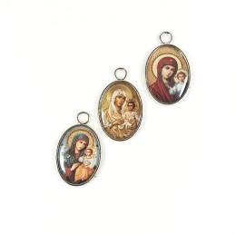 Obiecte bisericesti | Medalion icoana metalic argintiu 25mm | 2027
