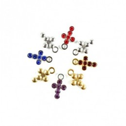 Obiecte bisericesti | Medalion cruce metalica aurie sau argintie 16mm | 2028