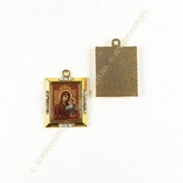 Obiecte bisericesti | Medalion icoana metalica aurie 25mm | 2029
