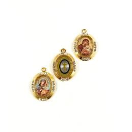 Obiecte bisericesti | Medalion icoana metalic auriu 25mm | 2030