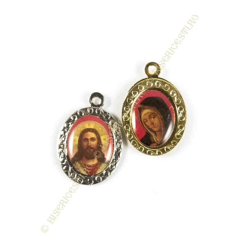 Obiecte bisericesti | Medalion icoana metalic auriu sau argintiu 25mm | 2032