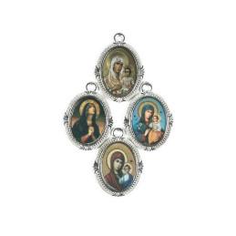Obiecte bisericesti | Medalion icoana metalic argintiu 26mm | 2034