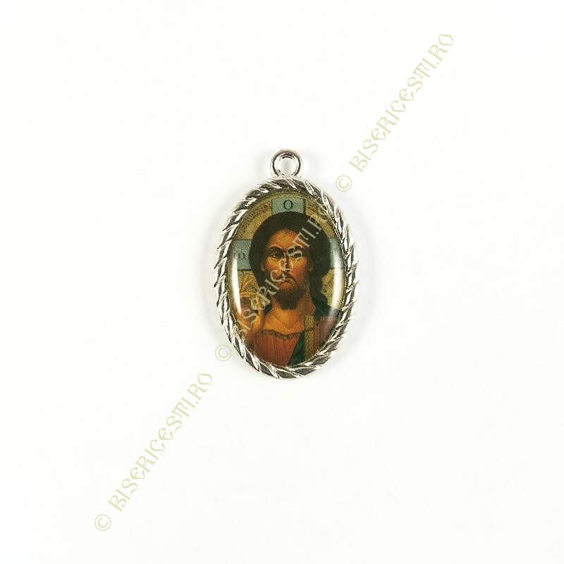 Obiecte bisericesti | Medalion icoana metalic argintiu 27mm | 2035