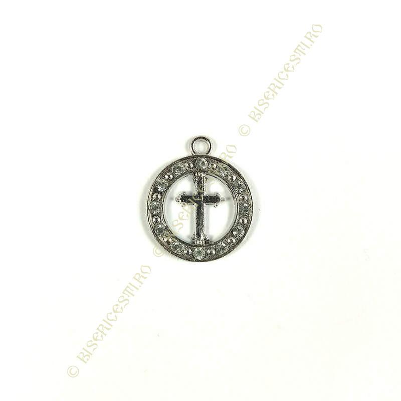 Obiecte bisericesti | Medalion cruce metalic argintiu 18mm | 2036
