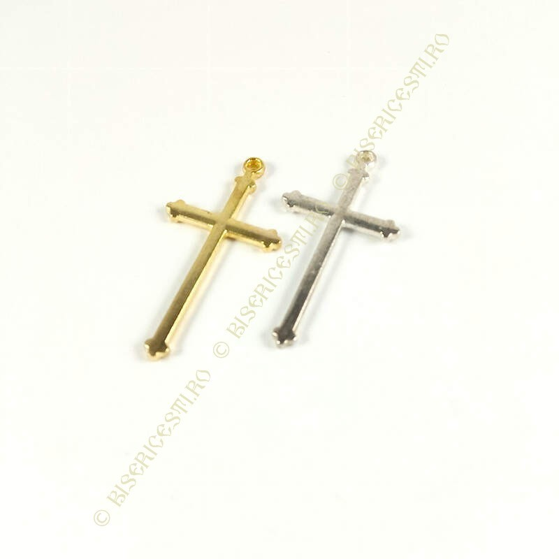 Obiecte bisericesti | Medalion cruce metalica aurie sau argintie 40mm | 2037