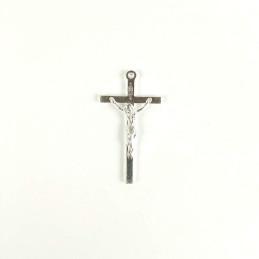 Obiecte bisericesti | Medalion cruce metalica argintie 34mm | 2038