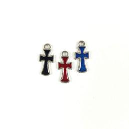 Obiecte bisericesti | Medalion cruce metalica argintie 13mm | 2040