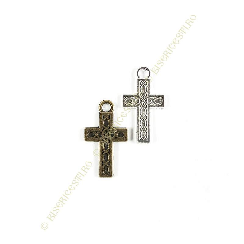 Obiecte bisericesti | Medalion cruce metalica argintie sau bronz 17mm | 2041