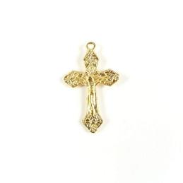 Obiecte bisericesti | Medalion cruce metalica aurie 28mm | 2043