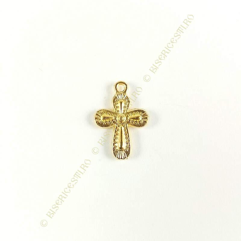 Obiecte bisericesti | Medalion cruce metalica aurie 18mm | 2044