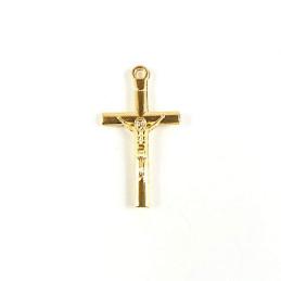 Obiecte bisericesti | Medalion cruce metalica aurie 28mm | 2045