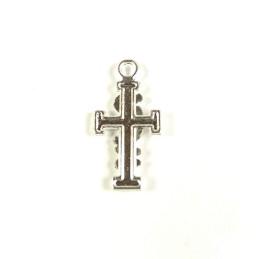 Obiecte bisericesti | Medalion cruce metalica argintie 25mm | 2046