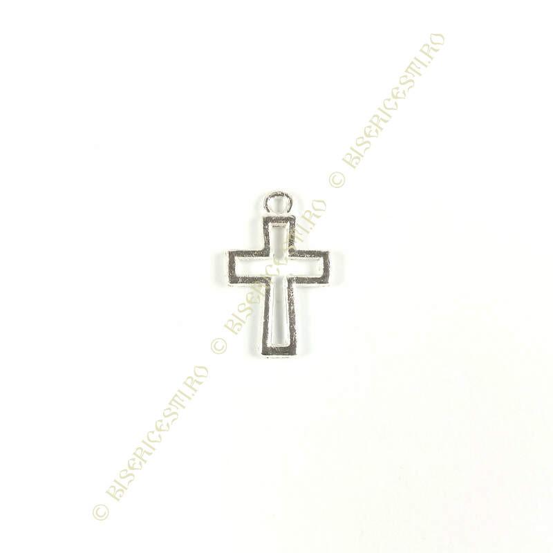 Obiecte bisericesti | Medalion cruce metalica argintie 16mm | 2047