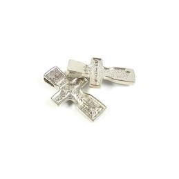 Obiecte bisericesti | Medalion cruce metalica argintie 30mm | 2048