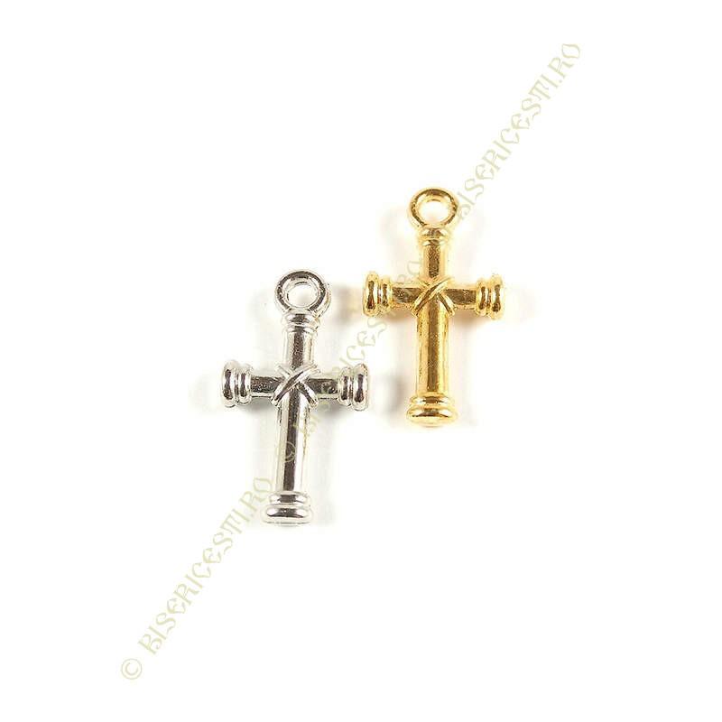 Obiecte bisericesti | Medalion cruce metalica aurie sau argintie 20mm | 2049