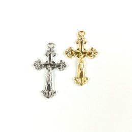 Obiecte bisericesti | Medalion cruce metalica aurie sau argintie 25mm | 2050