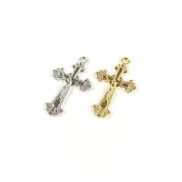Obiecte bisericesti   Medalion cruce metalica aurie sau argintie 25mm   2050