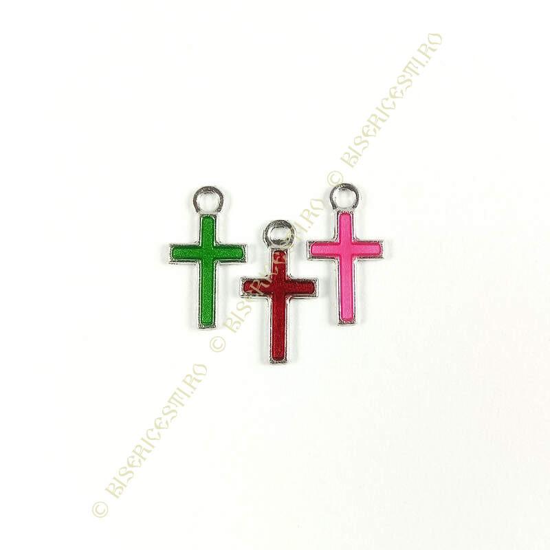 Obiecte bisericesti | Medalion cruce metalica argintie 15mm | 2051