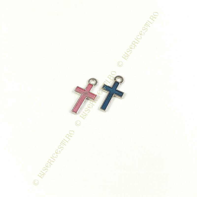 Obiecte bisericesti | Medalion cruce metalica argintie 15mm | 2052