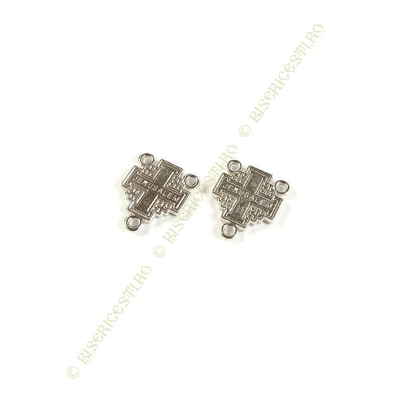 Obiecte bisericesti | Medalion cruce  metalica argintie 14mm | 2054