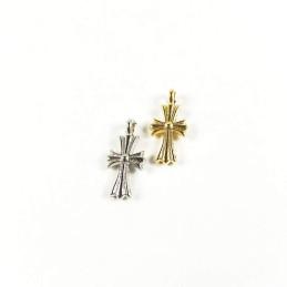 Obiecte bisericesti | Medalion cruce metalica aurie sau argintie 18mm | 2055