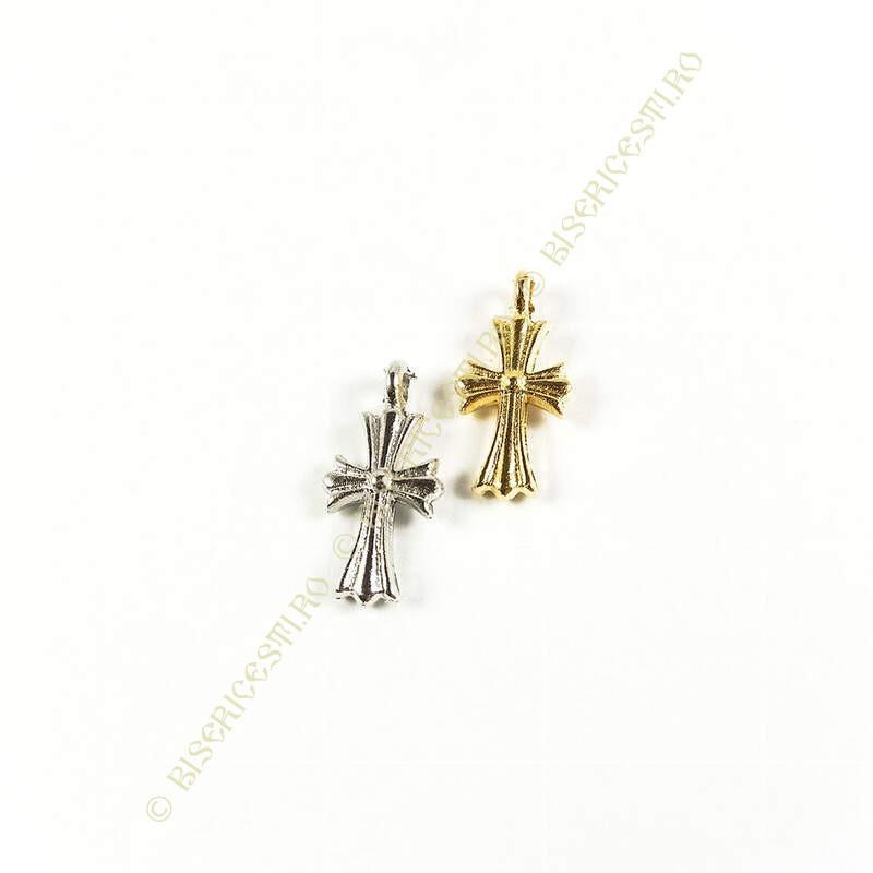 Obiecte bisericesti   Medalion cruce metalica aurie sau argintie 18mm   2055
