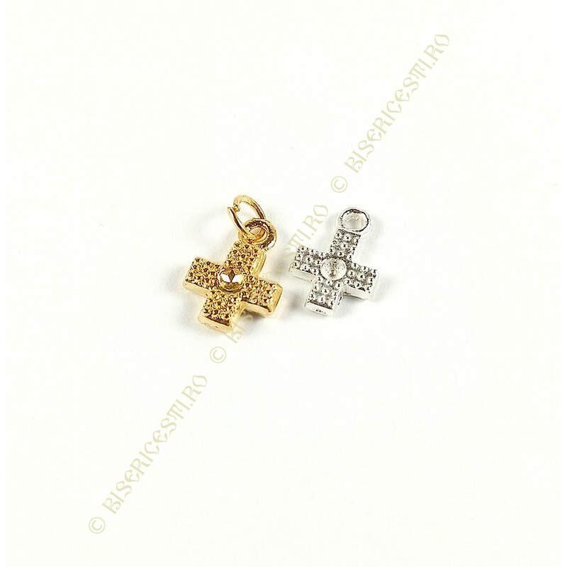Obiecte bisericesti | Medalion cruce metalica argintie 12mm | 2057