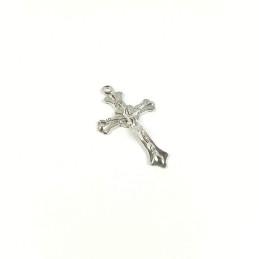 Obiecte bisericesti | Medalion cruce metalica argintie 40mm | 2058
