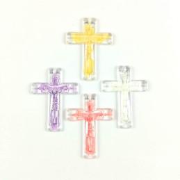 Obiecte bisericesti | Medalion cruce de plastic transparent 32mm | 2059