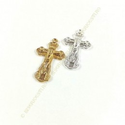 Obiecte bisericesti | Medalion cruce metalica aurie sau argintie 32mm | 2060