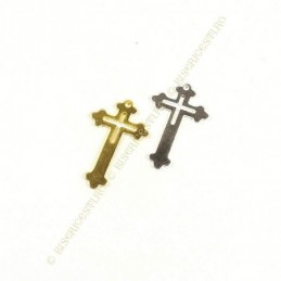 Obiecte bisericesti | Medalion cruce metalica aurie sau argintie 25mm | 2061