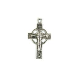 Obiecte bisericesti | Medalion cruce  metalica argintie 33mm | 2063