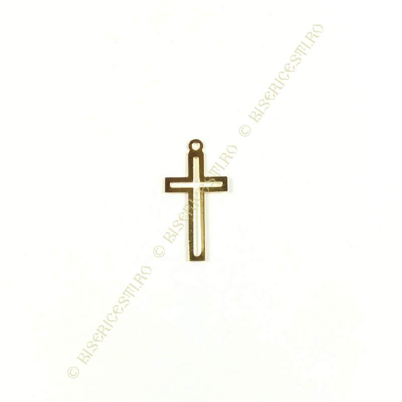 Obiecte bisericesti | Medalion cruce metalica aurie 25mm | 2064