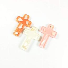 Obiecte bisericesti | Medalion cruce de plastic colorat 53mm | 2065