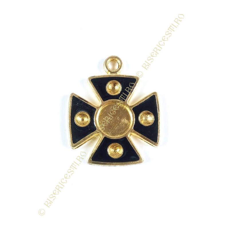 Obiecte bisericesti | Medalion cruce metalica aurie 38mm | 2066
