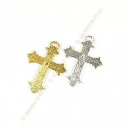 Obiecte bisericesti | Medalion cruce metalica aurie sau argintie 48mm | 2068