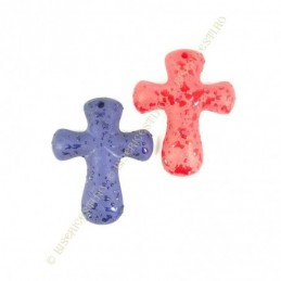 Obiecte bisericesti | Medalion cruce de plastic colorat 73mm | 2069