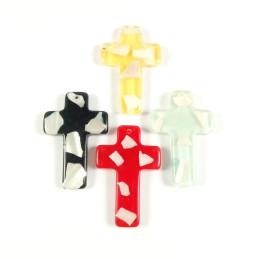 Obiecte bisericesti | Medalion cruce de plastic colorat 50mm | 2070